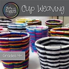 Students will learn how to create a radial cup weaving using a paper cup and yarn! This package comes with teacher instructions, visuals, AND an instructional video! Project Materials:  9oz Paper Cup  Scissors  Yarn (whichever colors you'd like)  Cup Template (included)  Sharpie Marker If you are interested in more art education products, consider