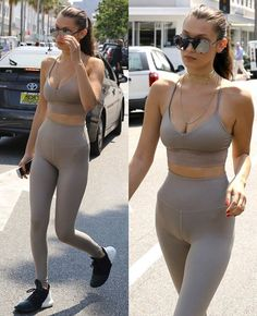 July leaving Il Pastaio in Beverly Hills. Tight Suit, Tights, Leggings, Bella Hadid, Beverly Hills, Sporty, Workout, Suits, Sexy