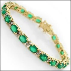 Stunning Womens 18K Yellow Gold Over Solid Sterling Silver 0.30 CTW 50 Diamond and 14.0 CTW Emerald 7.5 Inch Designer Bracelet #MothersDay#NewMom#Mom