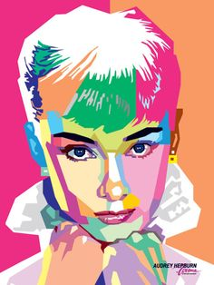 lovely use of #color in this Audrey Hepburn #illustration