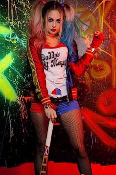 27 Best Sexy Halloween Costumes For Hot Girls - Hommade - Harley Quinn Halloween Costume, New Halloween Costumes, Halloween Fashion, Easy Halloween, Joker Costume, Festival Looks, Harley Quinn Disfraz, Halloween Disfraces, Costumes For Women