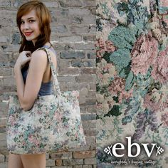 #Vintage #90s #Floral #Tapestry #Oversized #Tote Bag Purse by shopEBV http://etsy.me/XBY93b   by shopEBV, $30.00