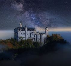 Schloss Neuschwanstein (Neuschwanstein Castle), Above the village of Hohenschwangau, Bavaria, Germany... www.castlesandmanorhouses.com .... Neuschwanstein Castle (Schloss Neuschwanstein), is a nineteenth-century Romanesque Revival palace. It was commissioned by King Ludwig II of Bavaria. The palace was intended as a personal refuge but it was opened to the paying public immediately after his suspicious death in 1886. Photo by Peter Brunne (detail)