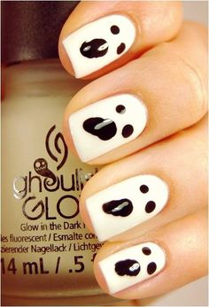 Glow-in-the-Dark Ghost Nails - 18 Clever Nail Ideas for Halloween