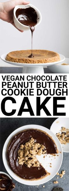 Vegan Chocolate Peanut Butter Cookie Dough Cake: The chewiest cookie cake ever! Made gluten free and vegan, this cake is made up of three layers: a peanut butter cookie cake, chocolate ganache, and homemade vegan cookie dough! || fooduzzi.com recipe