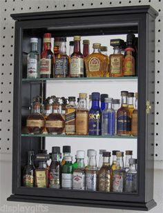 Mini Liquor Bottle Display Case Cabinet Shadow Box