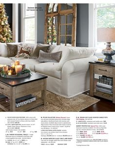 Love the cluster of candles on the coffee table. Pottery Barn Early Holiday 2016 - Page 30-31