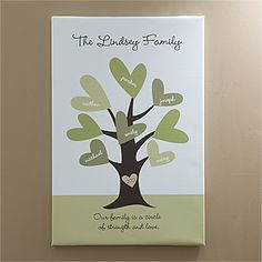 Leaves of Love Personalized Family Tree Canvas Art