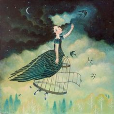"Limited edition giclée print of original painting by Lucy Campbell - ""we wish for wings"""