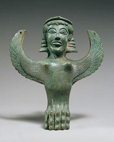 Bronze foot in the form of a sphinx      Period:      Archaic  Date:      ca. 600 B.C.  Culture:      Greek  Medium:      Bronze  Dimensions:      Overall: 10 7/8 x 8 x 6 1/2 in. (27.6 x 20.3 x 16.5 cm)