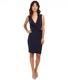 Christin Michaels - Gracy Sleeveless Wrap Dress with Collar (Navy) Women's Dress