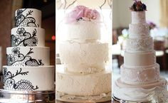 I like the one with the gray lace with the pink flowers, wouldn't need to be that tall though - 13 Lovely Lacy Cakes!