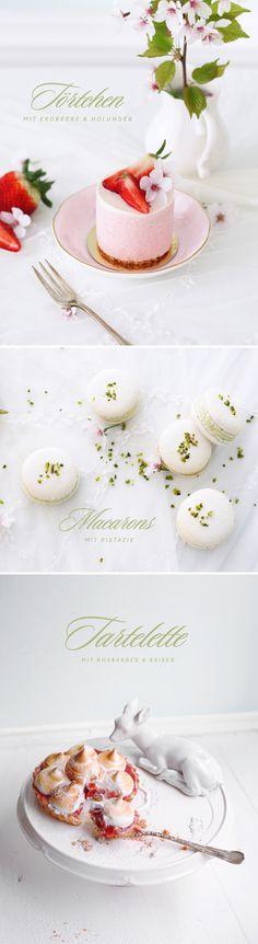 Hello Spring! Mousse Cake with Strawberries & Elderflower / Pistaccio Macarons / Tartelette with Rhubarb & Meringue