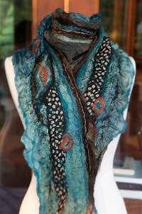 Felt Scarf, nuno felt, teal, brown, coral, handcrafted ...