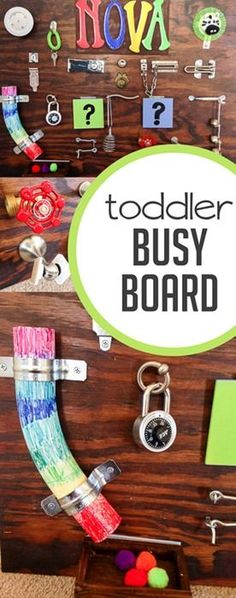 How to Make a Toddler Busy Board that Really Entertains. What to include and how to make a toddler busy board. Sometimes toddlers need to just be busy. Make this crazy awesome toddler busy board. It's going to entertain your toddler for days to come. Toddler Play, Baby Play, Toddler Preschool, Toddler Crafts, Baby Toys, Crafts For Kids, Preschool Teachers, Sensory Activities, Infant Activities