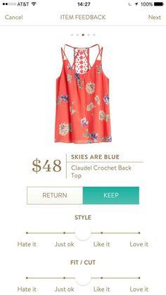 Stitch Fix Skies are Blue Claudel Crochet back Top