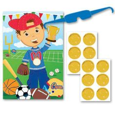 Little Champs Sports Party Game by Amscan. $6.95. Includes 1 Game Board.. Includes 1 Blindfold.. Includes 12 Stickers.. Game Board Measure 37 1/2 Inches x 24 1/2 Inches.. 1 Little Champs Sports Party Game.. Children love games, especially little sports enthusiasts. Give your daughter or son a sports game they are sure to love with this Little Champs Sports Party Game. Perfect for a sports themed birthday party or a sports themed kids event.