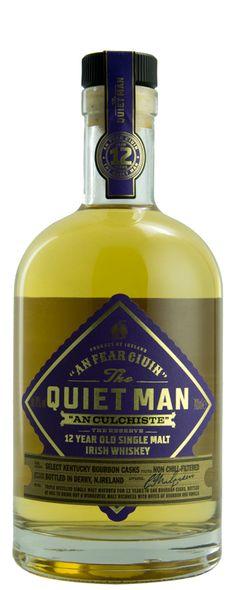 The Quiet Man 12 Year Old Single Malt Whiskey is triple distilled from Irish Malted Barley in a traditional copper pot still and matured in fill Bourbon Barrels. Irish Whiskey Brands, Single Malt Irish Whiskey, Scotch Whiskey, Bourbon Whiskey, Rum Bottle, Liquor Bottles, Whiskey Bottle, Whisky, Copper Pot Still