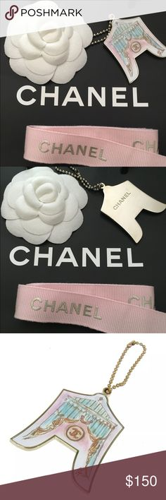 Chanel Key Chain Bag Charm Chanel Circus Tent Key Chain, Bag Charm with matching Pink Chanel ribbon. Includes small shopping bag and camellia. Guaranteed authentic. CHANEL Accessories
