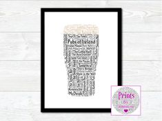 Pubs of Ireland Wall Art Print With Some of the Best Known Pubs from around Ireland by JumbleinkArt on Etsy Sayings And Phrases, Irish Quotes, Fathers Day Presents, Irish Art, 3 Shop, Frame Shop, Word Art, Wall Art Prints, Ireland