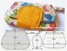 Faça o molde da pochete em tecido com a ajuda da imagem. As medidas facilitam a construção do molde. Faça o molde em papel para poder fazer os acertos...