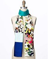 """Floral Field Silk Scarf - Stunning florals meet graphic blocks of color for a marvelously modern mix that brightens any ensemble. 24"""" x 72""""."""