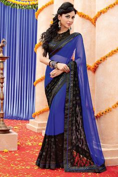 Andaaz Fashion new arrival Black Blue Chiffon Saree with Dupion Silk Blouse and Designer Pallu with price $84.79.    http://www.andaazfashion.us/black-blue-chiffon-saree-with-dupion-silk-blouse-dmv7959.html
