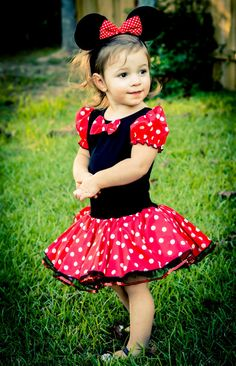 Minnie Mouse Tutu Costume Dress with red Sequins trim and  Black  Minnie ear headband