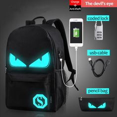 USB Charge Computer Anti theft Laptop School Backpack Glow in The dark Luminous #Doesnotapply #Backpack