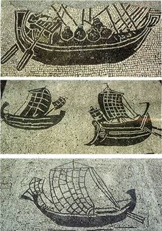 Ship mosaics with different types of merchant ships, Ostia Antica