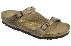 Birkenstock Larisa Tobacco Oiled Leather $120   Our buyers favorite new Birkenstock this season! Particularly flattering on the foot, it has narrow, feminine straps and two buckles for a perfect fit. Traditional Birkenstock cork footbed has great arch support and a deep heel cup for stability. Footbed is lined with soft, moisture-absorbent suede. EVA soles are lightweight, flexible and long-wearing. Resoleable.