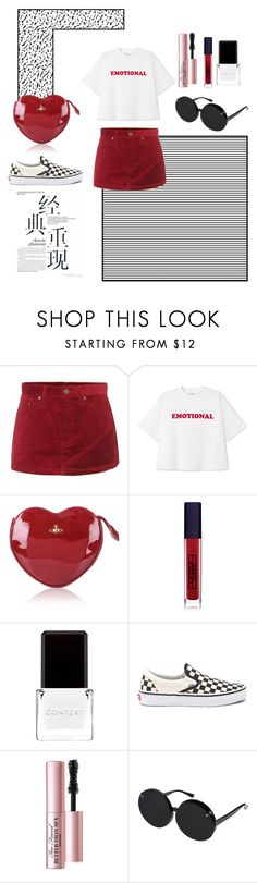 """Burning desire."" by sighsprayberry ❤ liked on Polyvore featuring Marc Jacobs, Vivienne Westwood, Lipstick Queen, Context, Vans, Too Faced Cosmetics and Linda Farrow"