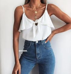 How to wear fall fashion outfits with casual style trends Summer Outfits Women, Casual Summer Outfits, Spring Outfits, Trendy Outfits, Outfits With Jeans, Outfit Summer, Fashion Mode, Look Fashion, Womens Fashion