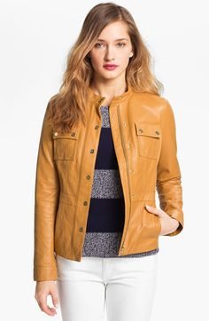 Tory Burch 'Beacon' Leather Moto Jacket available at #Nordstrom - super soft!