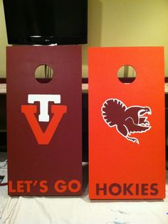 Custom, hand painted Virginia Tech cornhole boards.