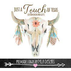 Bull Skull, Feathers, Custom Logo - Boho Logo, Premade Logo, Custom Logos, Rustic Logo Design, Watercolor Logos by MLAdesigns on Etsy https://www.etsy.com/listing/232525293/bull-skull-feathers-custom-logo-boho