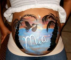 Face Painter does Painted Pregnant Belly Tummy for Baby Showers
