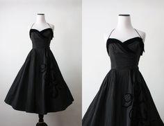 robe des années 50  vignes de minuit vintage robe par 1919vintage