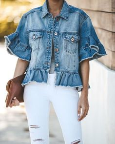 The rough feel that accompanies the denim jacket and the ripped jeans really can provide you that tough look which you will wish to have fun achieving Denim Top, Blue Denim, Colored Denim, How To Wear Denim Jacket, Jean Vest Outfits, Cute Jean Jackets, Denim Jackets, Look Jean, All Jeans