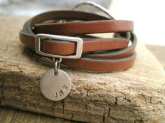Daintily Designs - Personalized Leather Charm Wrap Bracelet #2881 $38 - Joanna Gaines Style - Etsy - The Shop Gal