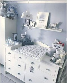 """Changing mat """"Cloud for IKEA Hemnes / Songesund chest of drawers - room ideas for . - Changing mat """"Cloud for IKEA Hemnes / Songesund chest of drawers – room ideas for children Clo - Baby Room Themes, Baby Boy Room Decor, Baby Room Design, Baby Bedroom, Baby Boy Rooms, Baby Boy Nurseries, Nursery Room, Girl Room, Baby Room Furniture"""