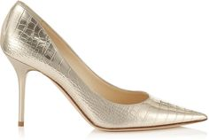 Jimmy Choo Agnes Light Gold Embossed Mirror Leather Pointy Toe Pumps on shopstyle.co.uk