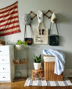 Minimalist Bedroom Mid Century Bedroom Vintage Bedroom Accordion Rack  American Flag Thrifting