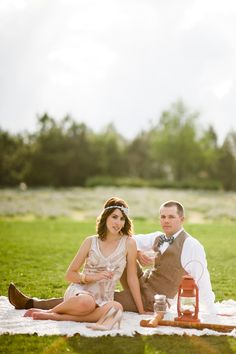 Super cute 1920s engagement session. Photo by Lauren Larsen Photographs. www.wedsociety.com #engagement #1920s #gatsby