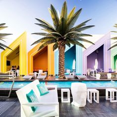 """12.3k Likes, 53 Comments - designboom magazine (@designboom) on Instagram: """"the colorful cabanas at the matisse beach club designed by oldfield knott architects in…"""""""