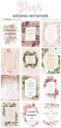 Minted pink wedding invitations #weddings #weddinginvitations #weddingcards #dpf #deerpearlflowers