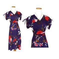 70s Wrap Dress / Hawaiian Tropical Dress / 1970s Purple Floral Dress / Plunging Neckline Dress / Flutter Sleeve Dress / XS Small Wrap Dress by GoodLuxeVintage on Etsy