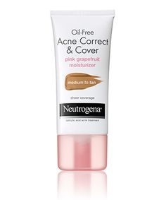 $9.49 Oil-Free Acne Correct & Cover Pink Grapefruit Moisturizer  0.5% Salicylic Acid acne treatment Lightweight, non-greasy formula Water-based Won't clog pores