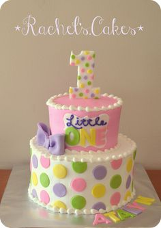 Polka dot 1st birthday cake