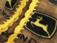 John Deere Fleece Brown Yellow Boy Baby Blanket With Bright Yellow Shell Crochet Edge by UnhungHarps on Etsy